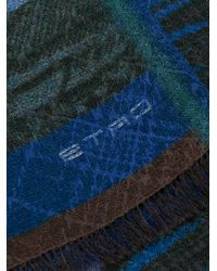 Etro - Blue Thick Patterned Scarf for Men - Lyst