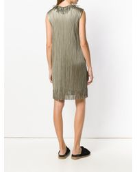 Pleats Please Issey Miyake - Metallic Pleated Shift Dress - Lyst