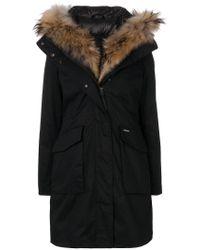 Woolrich - Blue Reversible Fur-trimmed Parka - Lyst