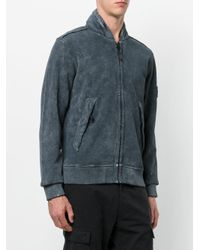 Stone Island - Gray Washed Zip Hoodie for Men - Lyst