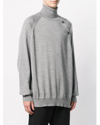Lanvin - Gray Oversized Turtleneck Sweater for Men - Lyst