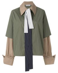 J.W. Anderson - Green Oversized Layered Look Striped Shirt - Lyst