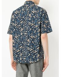 Cerruti 1881 - Blue Leaf Print Short Sleeve Shirt for Men - Lyst