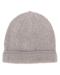 Canali - Brown Ribbed Knit Beanie for Men - Lyst