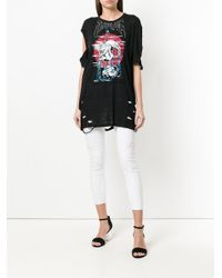 DIESEL - Black Distressed Graphic-print T-shirt - Lyst