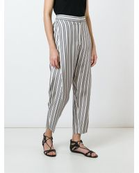 Alberto Biani - Black Striped Trousers - Lyst