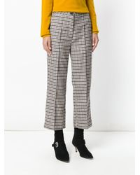 Erika Cavallini Semi Couture - Multicolor Plaid Cropped Trousers - Lyst