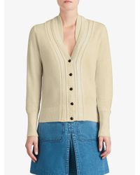 Burberry - Natural Cable-knit Insert Cardigan - Lyst