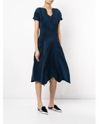 Issey Miyake - Blue Ruched Detail Dress - Lyst