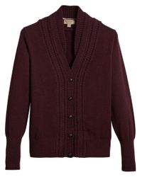 Burberry - Red Knitted Cardigan - Lyst