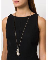Lanvin - Metallic Long Embellished Swan Necklace - Lyst