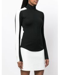 Theory - Black Contrasting Side Panel Zipped Sweater - Lyst