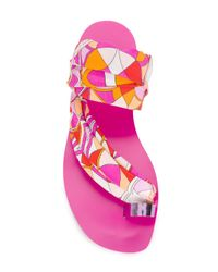 Emilio Pucci - Pink Printed Toe Ring Slides - Lyst