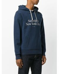 Saturdays NYC - Blue Logo Hoodie for Men - Lyst