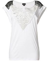 Just Cavalli White Lace Insert T-shirt