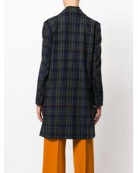 Erika Cavallini Semi Couture - Blue Checked Coat - Lyst