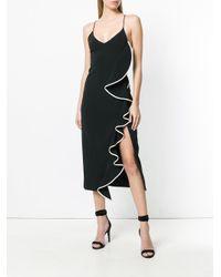 David Koma - Black Asymmetric Ruffle Trim Dress - Lyst