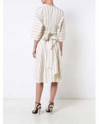 TOME - White Stripe Cinched Dress - Lyst