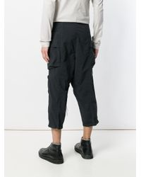 The Viridi-anne - Black Cropped Cargo Trousers for Men - Lyst
