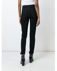 Saint Laurent - Black Ripped Skinny Jeans - Lyst