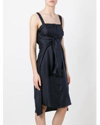 Maison Margiela - Blue Tie Front Fitted Dress - Lyst