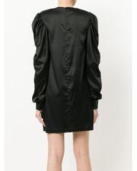 FEDERICA TOSI - Black Gathered Sleeve Satin Shift Dress - Lyst