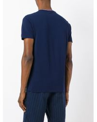 Polo Ralph Lauren - Blue Logo Tricolour Trim T-shirt for Men - Lyst