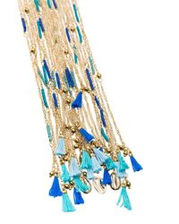 Rosantica - Metallic Tortuga Necklace With Blue Beads - Lyst