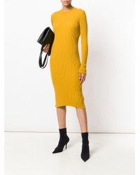 Maison Margiela Yellow Ribbed Knit Dress