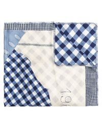 Pierre Louis Mascia - Blue Checkered Detail Scarf - Lyst