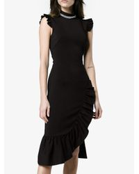Christopher Kane - Black Sleeveless High Neck Asymmetric Fitted Dress - Lyst