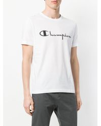 Paolo Pecora - White Champion Print T-shirt for Men - Lyst