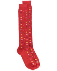 Etro - Red Floral Socks for Men - Lyst