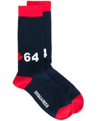DSquared² - Blue Two Tone 64 Socks for Men - Lyst