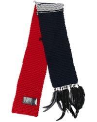 Prada - Blue Feather Applique Scarf - Lyst