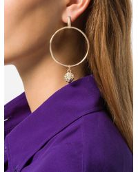 Versus  - Metallic Charm Hoop Earrings - Lyst
