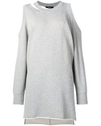 DIESEL - Gray Cold Shoulder Sweater Dress - Lyst