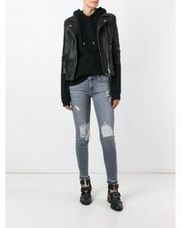 7 For All Mankind | Black Distressed Skinny Jeans | Lyst