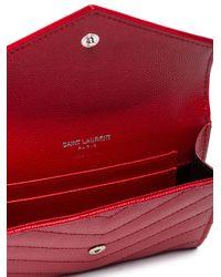 Saint Laurent - Red Monogram Envelope Wallet - Lyst