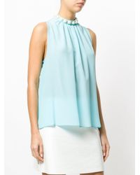 Boutique Moschino - Blue Studded Halterneck Top - Lyst