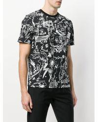 Versus  - Black Scribble Print T-shirt for Men - Lyst