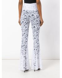 Norma Kamali   White Lace Flared Trousers   Lyst