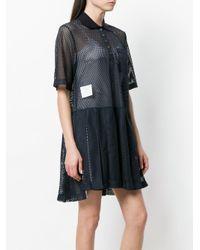 Thom Browne Blue Perforated Tri-stripe Dress