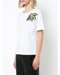 Oscar de la Renta White Monkey Embroidered T-shirt