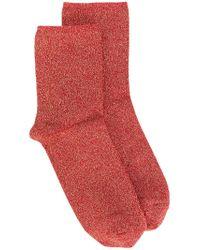 Erika Cavallini Semi Couture - Red Glitter Socks - Lyst