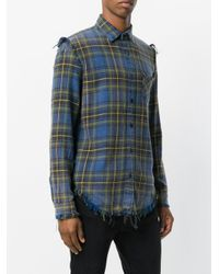 R13 Blue Distressed Plaid Shirt for men