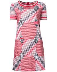 Missoni | Red Geometric Pattern T-shirt Dress | Lyst