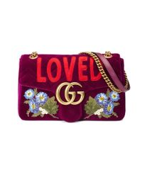 Gucci - Purple Gg Marmont Embroidered Velvet Bag - Lyst
