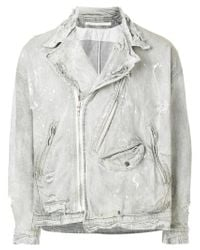 Julius - White Distressed Biker Denim Jacket for Men - Lyst