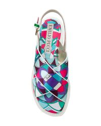 Emilio Pucci - Blue Printed Cross-over Sandals - Lyst